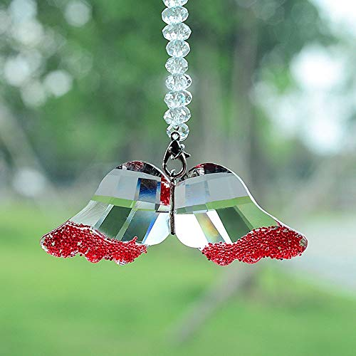 - BabYoung Creative Decoration Crystal Angel Wings Pendant Car Accessories Home Ornaments Christmas Holiday Charms Jewelry Gifts (Red)