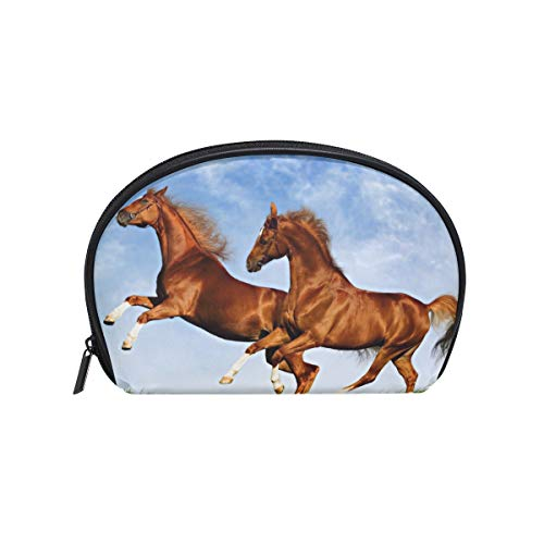 LORVIES Two Horses Frolic On The Plain Cosmetic Pouch Clutch Makeup Bag Travel Organizer Case Toiletry Pouch for ()