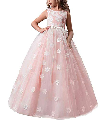 TTYAOVO Girls Pageant Princess Flower Dress Kids Prom Puffy Tulle Ball Gowns Size 13-14 Years Pink -