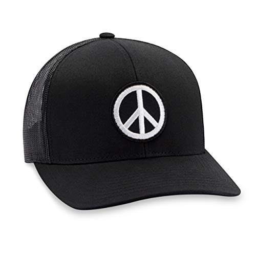 Peace Hat - Peace Sign Trucker Hat Baseball Cap Snapback Golf Hat (Black)