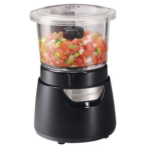 Hamilton Beach Stack and Press Glass Bowl Food and Vegetable Chopper, 3 Cup, Black and Silver (72860), (Best Small Electric Chopper)