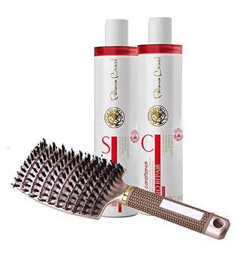 Brazilian Keratin Anti-Frizz Straightening Shampoo & Conditioner with Boar Hair Brush - Volume & Moisturizing, Gentle on Curly & Color Treated Hair, Infused with Keratin and Tropical Oils.