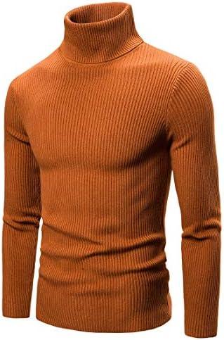男性用タートルネックセータープルオーバーカジュアルスリムフィットソリッドカラーニットジャンパー,Camel,S