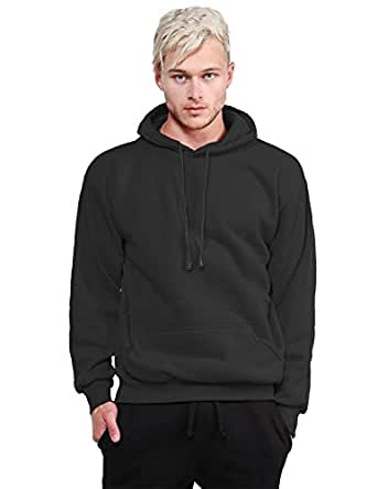 Basic Pullover Fleece Hooded Sweatshirt Black S Size
