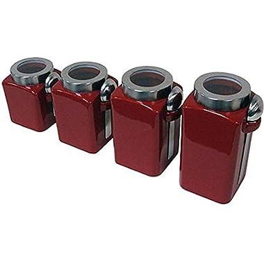 4-Piece Canister Set, Crimson