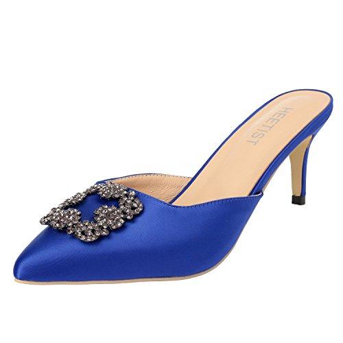 HEETIST Women's Hosphere Satin Slide Sandals with Pointed Toe Kitten Heels Jeweled Slingback Mules Slip On, Blue, 7 B(M) US