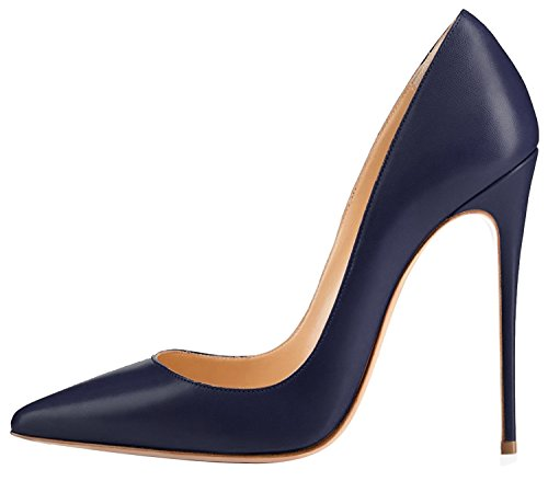 Guoar Women's Stiletto Big Size Shoes Pointed Toe Soft Ladies Solid Pumps For Work Place Dress Party Dark Blue US8 (Rubber Solid Dark Blue)