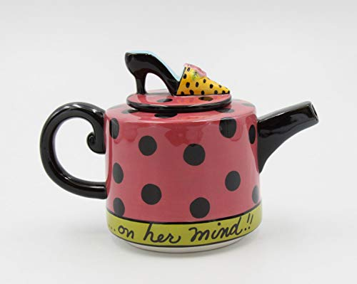 6 1/2 Inch Pink and Black Polka Dot Teapot with High Heel Top Lid