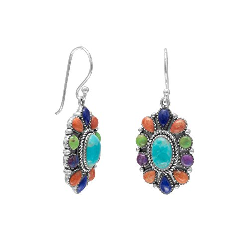 (Oxidized Sterling Silver French Wire Earrings Coral Gaspeite Lapis Simulated Turquoise)