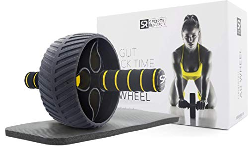 Sports Research Sweet Sweat Ab Wheel | Abdominal Exercise Wheel for Core Strength Training | with Knee Pad (Sports Equipment)