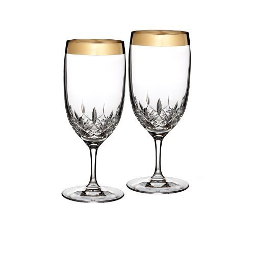 Waterford Lismore Essence Wide Gold Band Iced Beverage, Pair Waterford Crystal 163803