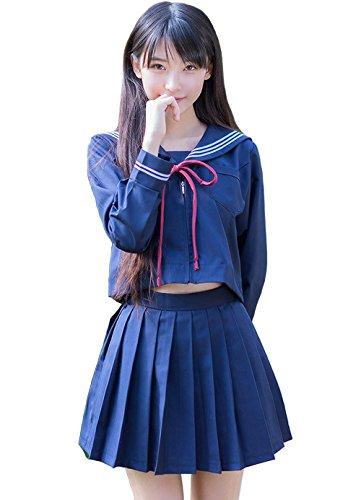 Japanese Uniform High Costume School (Lucky2Buy Women's Japanese High School Uniform Anime Cosplay JK Costume Set Sailor Suit for Girls Long Sleeve Navy Blue -)