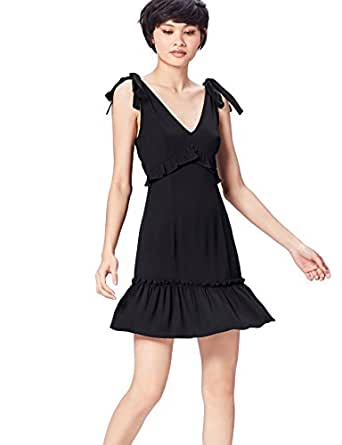 FIND Vestido de Tirantes con Lazada para Mujer , Negro (Black), 36 (Talla del Fabricante: X-Small)