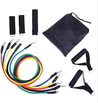 Exercise Fitness Resistance Bands Set Stretch Bands Set Bodybuilding Elastic Pull Rope Abdomen Waist Arm Leg Tummy Stretching Slimming Crunches for Pilates Speed Strength Rehab Physical Therapy