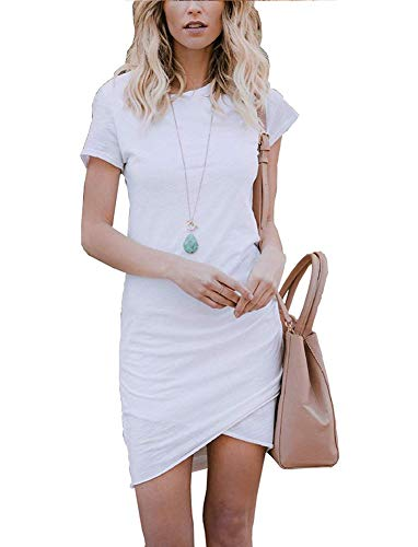 - Women's Short Sleeve Bodycon Dresses - Sexy Ruched Tulip Hem Sheath Mini Dresses Small White