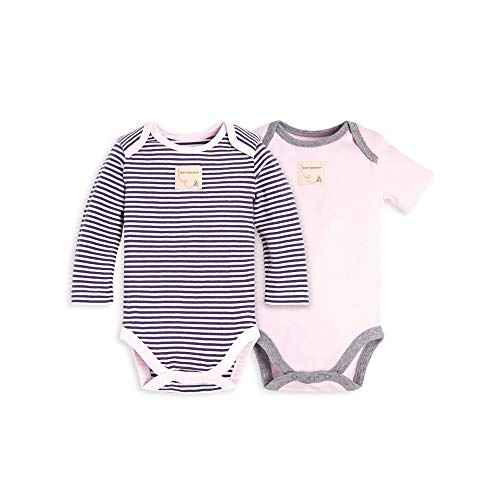 - Burt's Bees Baby Baby Bodysuits, 2-Pack Organic Cotton Short & Long Sleeve One-Pieces, Purple & Pink Classic Stripe, 3-6 Months