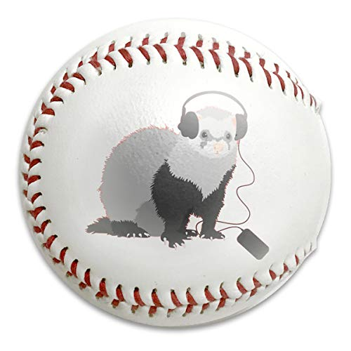 Huangwei Funny Music Lover Ferret Baseballs Standard Low Impact Safety Baseball for Pitch Training,Trophies,Souvenir