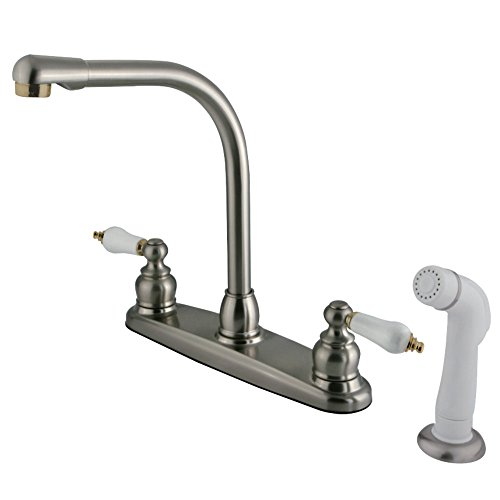 Kingston Brass KB719 Victorian High Arch Kitchen Faucet/Oak Procelain Lever Hdl, Satin Nickel with Polished Brass Trim