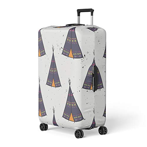 - Semtomn Luggage Cover American Indian Tipi Home Tribal Colorful Tepee Wigwam Travel Suitcase Cover Protector Baggage Case Fits 18-22 Inch