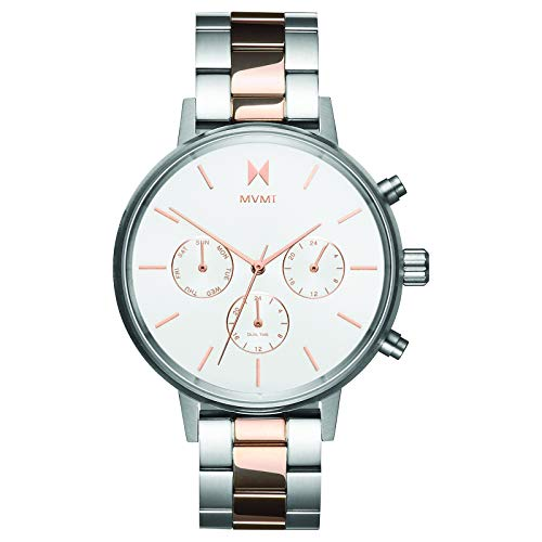 (MVMT NOVA Watches | 38MM Women's Analog Watch Chronograph | Stainless Steel Link | Silver/Rose Gold)