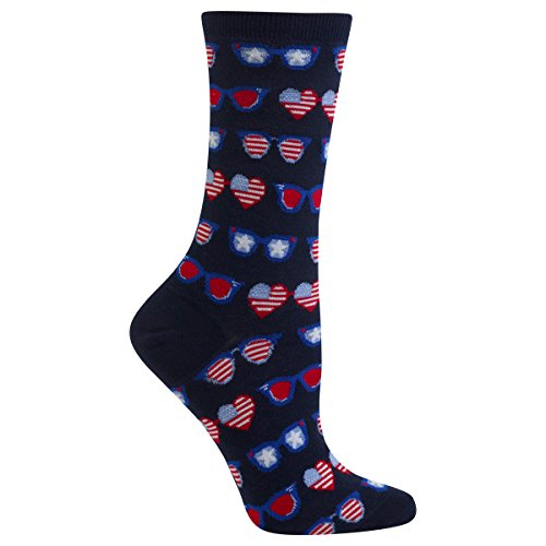 Sox Art Glass (Hot Sox Women's Originals Fashion Crew Socks, Patriotic Sunglasses (Navy), Shoe Size 4-10/Sock Size 9-11)