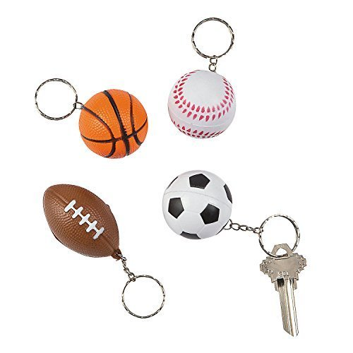Sports Ball Party Favor Soft Keychains - Football Baseball Soccer Basketball Assorted Designs - 12 pieces