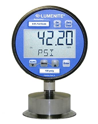 "Lumenite LSDPG-4220-C2""-100PSI Sanitary Combination Digital Pressure Gauge and 4-20mA Pressure Transmitter, 0-100 psi, LCD Display, 0.25% Accuracy, 2"" Tri-Clamp Connection"