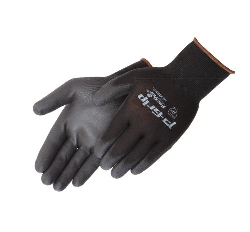 Liberty P-Grip Ultra-Thin Polyurethane Palm Coated Glove with 13-Gauge Nylon/Polyester Shell, Small, Black (Pack of 12) - Fingertip Coated Gloves