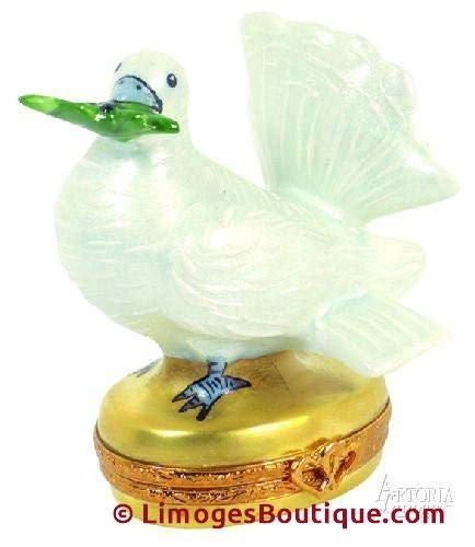 Dove with Olive Branch - - French Limoges Boxes - Porcelain Figurines Collectible Gifts