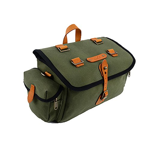 Zimbale Bicycle Waterproof Canvas Saddlebag - 11 Liter Capacity - 11.8 X 7.5 X 7.1 (inch) - Green