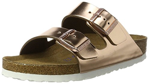 Birkenstock Arizona Soft Foot Bed Metallic Copper Leather Sandals, 39 M EU (US Women's 8-8.5)