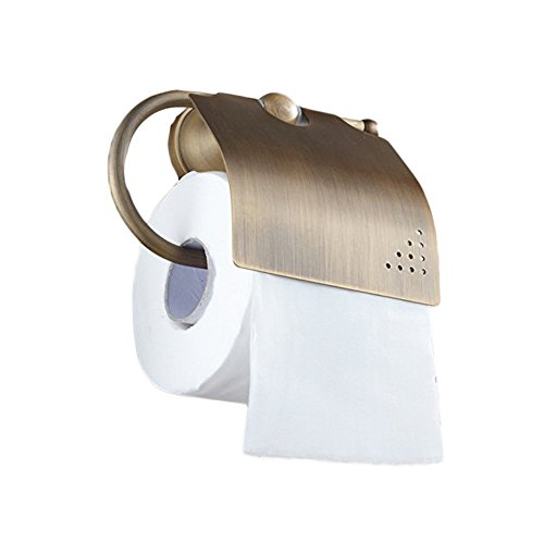 (Beelee Bathroom Tissue Holder/toilet Paper Holder Solid Brass Wall-mounted Toilet Roll Holder, Antique Brass Finished)