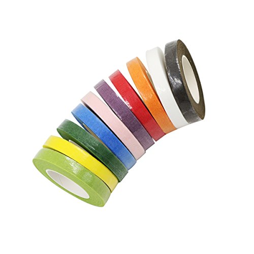 Grosun Multicolor Floral Tape Stem Warp, 10 Colors Floral Stem Tape