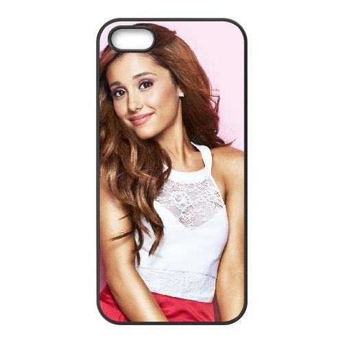 Ariana Grande 002 coque iPhone 4 4S cellulaire cas coque de téléphone cas téléphone cellulaire noir couvercle EEEXLKNBC23072