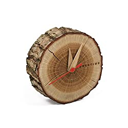 Handmade Small 4 Silent Oak Wooden Table Clock with Bark. Easy Christmas Gift. Minimalist Decor. Battery Operated, Analogue Clock for Desk or Bedside. Give the Gift of Time with this Refined Present