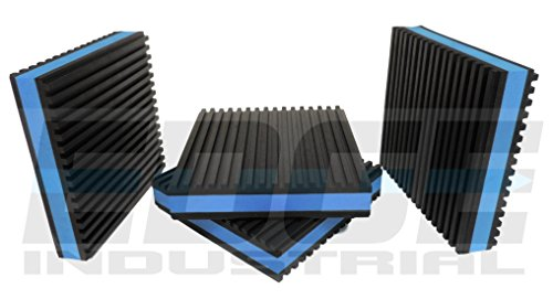 HEAVY DUTY ANTI VIBRATION ISOLATION PADS 4 X 4 X 7/8 RIBBED RUBBER WITH BLUE COMPOSITE FOAM CENTER, QUANTITY 4