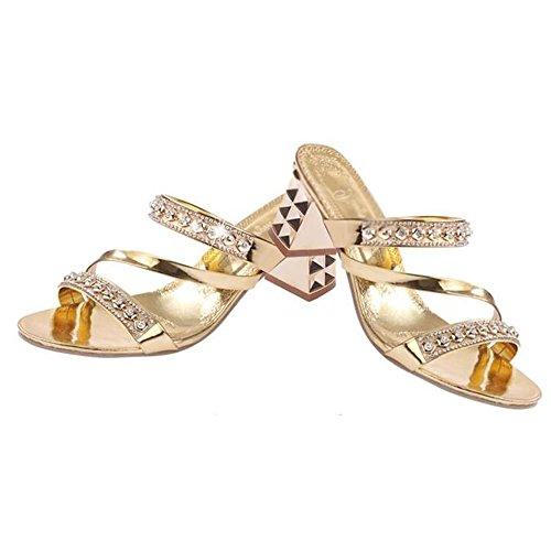 de remolino imitación alto Zapa de Zapatos grueso de tacón LVZAIXI con Zapatillas moda de Zapatillas diamantes Pendiente de mujer mujer de Zapatillas de moda Zapatillas mujer de Oro Pantuflas de de verano gT1pw