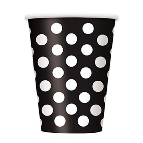 Decorative Dots Midnight Black Paper Cups (Pack Of 6)