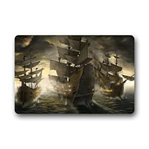 """Nautical Vintage Sailing Pirate Ship Theme Non-Slip Indoor or Outdoor Door Mat Doormat Home Decor Rectangle - 23.6""""(L) x 15.7""""(W),3/16"""" Thickness"""
