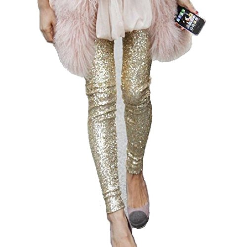 Withchic Gold Sequin Sparkle Leggings Shiny Bling Tights Glitter Pants -
