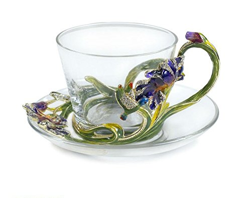 RORO Wedding Gift, Enameled and Jeweled Bohemian Crystal Coffee Set for 2, Swarovski Decoration, Luxury Home Accessories