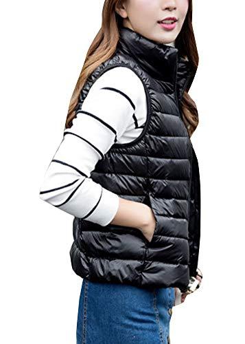 Sleeveless GladiolusA Vest Packable Puffer Black Quilted Women's Coat Gilet Jacket Lightweight BIxRWUrnI