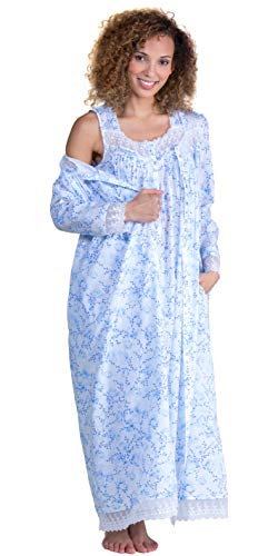 (Eileen West Peignoir Set Cotton Lawn Gown and Robe in Floral Darling (White/Blue Floral,)