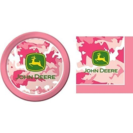 Amazon.com: John Deere Pink Camouflage Paper Plates and Napkins Set ...