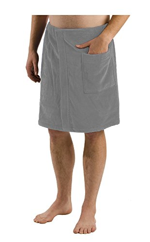 Personalized Mens Bath Wrap, Terry Cover Ups for Men - SILVER, One Size (Mens Terry Wrap)