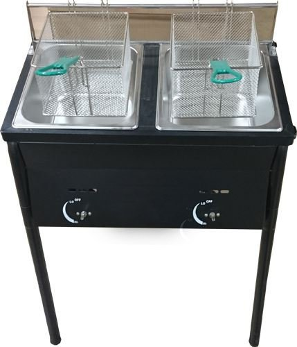 Bioexcel Outdoor Two Tank Fryer compatible with Propane Gas Tanks, comes with 2 Baskets & Stainless Steel Oil Tank