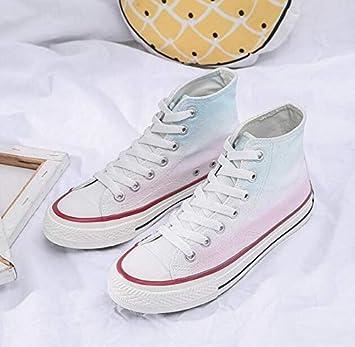 RONGXIE Nuevo Popular Casual High Top Zapatillas Blancas con ...