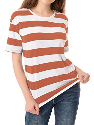 Striped T Shirt for Women Short Sleeve Crew Neck Summer Loose Casual Tee Tops (XL, Orange+White) (Shirt Stripe Orange)