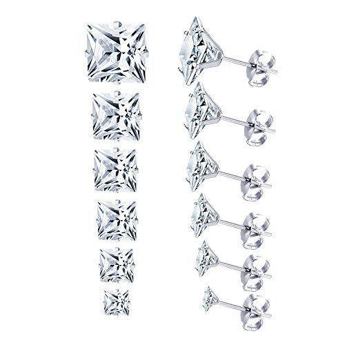 LUXU kisskids 6 Pairs 316L Sugical Stainless Steel Cubic Zircon Piercing Stud Earrings for Women Girls