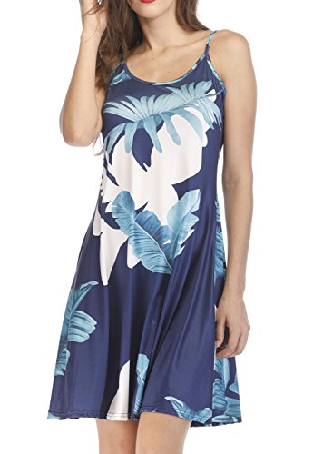 Shawhuwa Sleeveless Adjustable Strappy Slim Fit Sundress Dress Blue Leaves S 7e42e2a39fbe